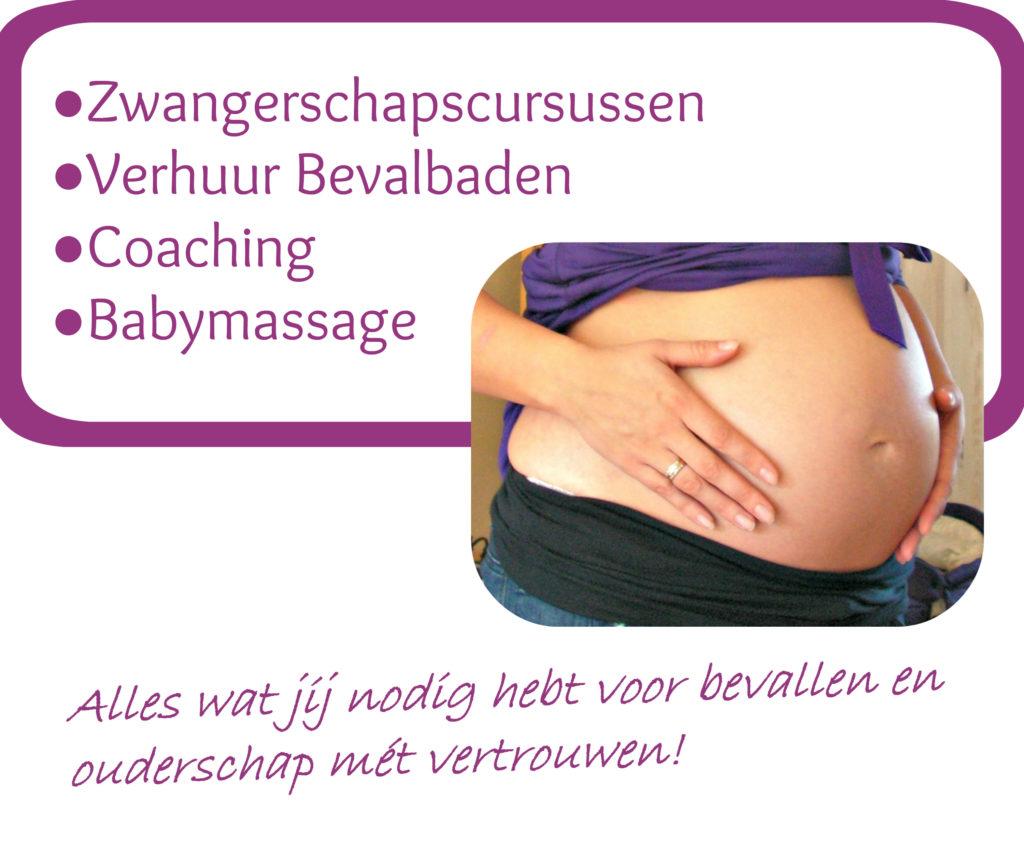 Diensten Lytse Pop, Zwangerschapscursussen, Verhuur Bevalbaden, Coaching, Babymassage.